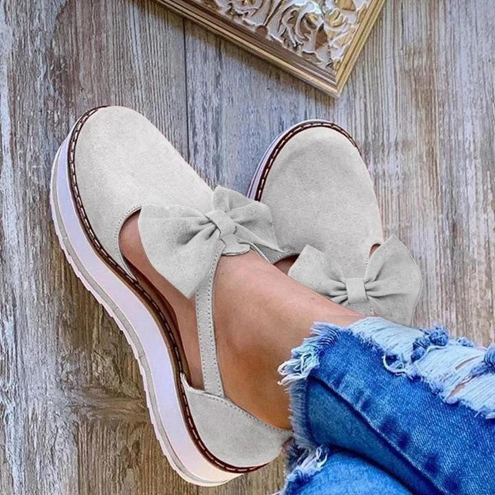 Thick Bottom Bowknot Buckled Sandals