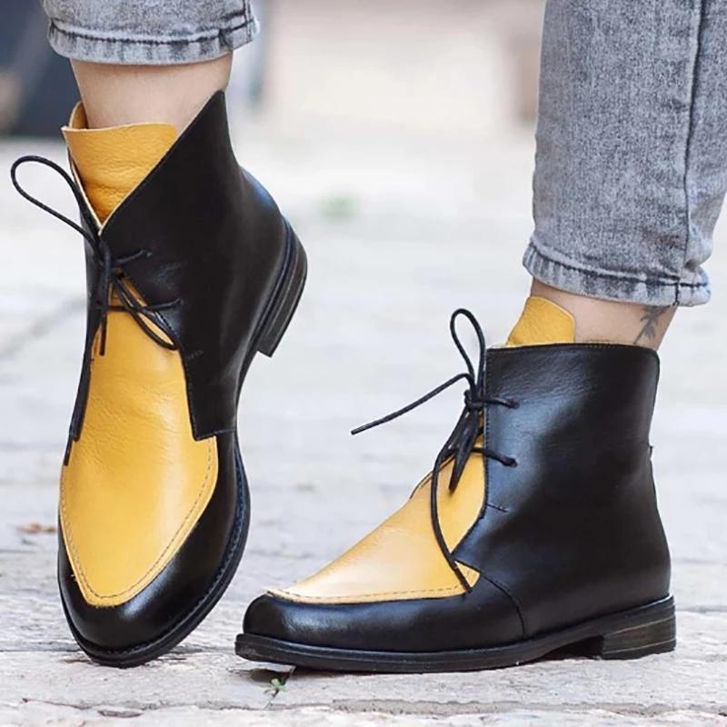 Color Block Vintage Lace-Up Boots