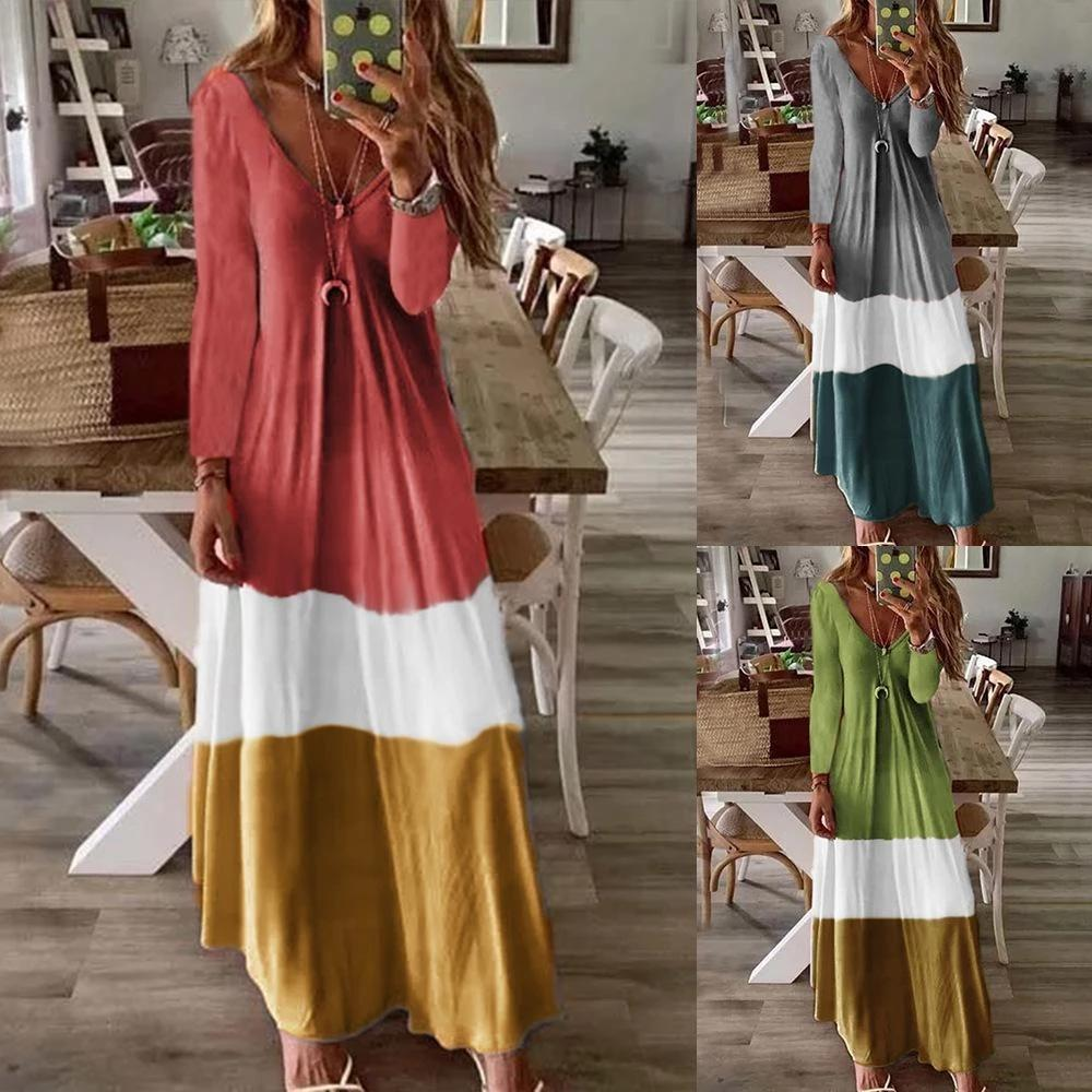 Long Sleeve Color Block Holiday Maxi Dress