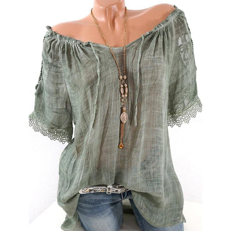 Women Lace Crochet Short Sleeve Shirts