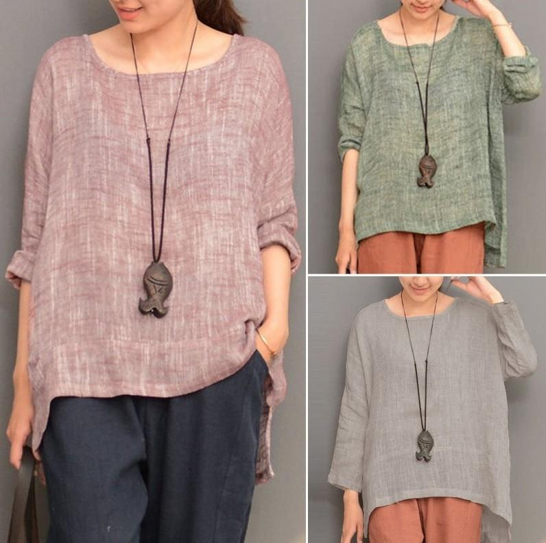 Vintage O-Neck Long Sleeve Loose Shirts
