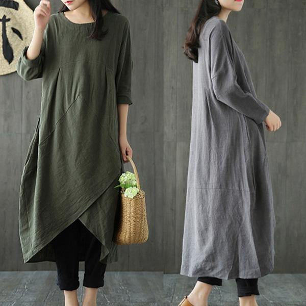 Solid Casual Crew Neck Cotton Casual Dress