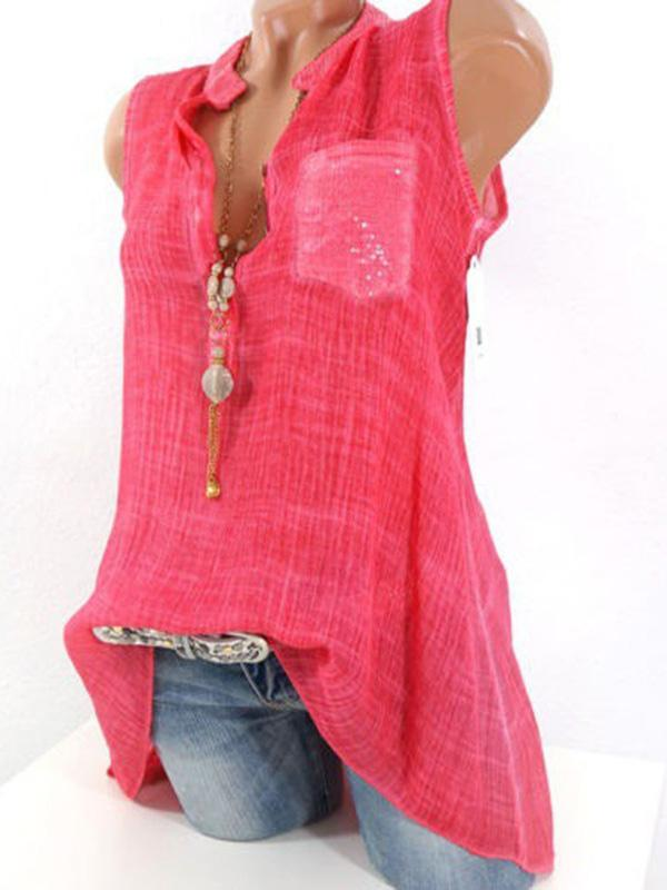 Patchwork Sleeveless Pure Color Shirts For Women