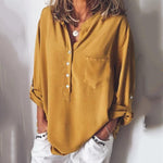 V-neck Chiffon Long Sleeve Loose Blouses