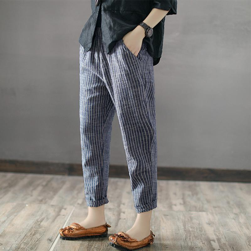 Casual Stripe Leisure Trousers Long Pants - MagCloset