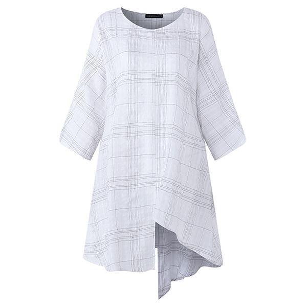 Cotton Linen Batwing Sleeve Loose Tops Check Plaid Blouse Shirt