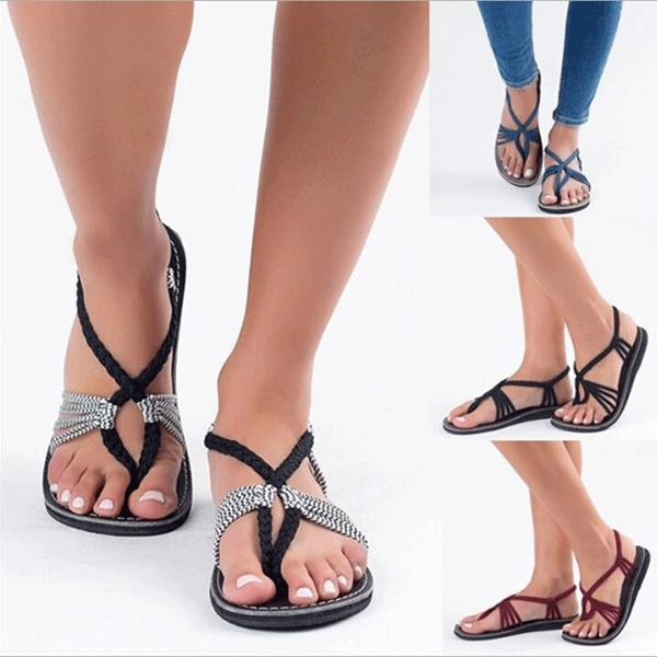 Vacation Casual Beach Braided Flat Sandals