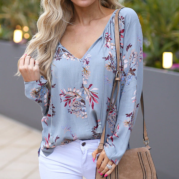 Bohemia Printed V Neck Long Sleeve Blouse