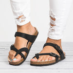 Women PU Leather Casual Daily Plus Size Sandals Slippers