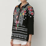 Bohemian Floral Embroidered 3/4 Sleeve Blouse