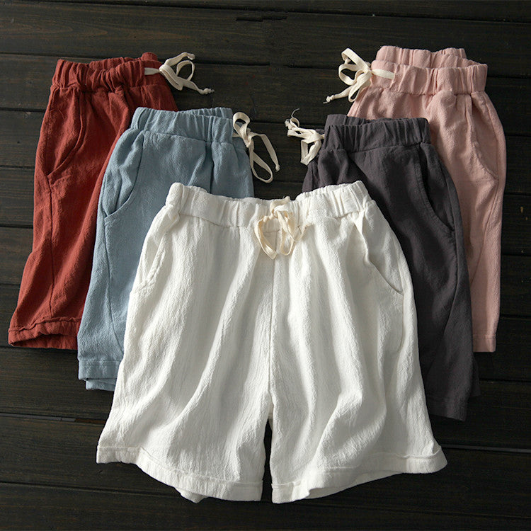 Cotton Linen Casual Solid Drawcord Plus Size Shorts
