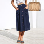 Solid Color Button Down Baggy Skirt