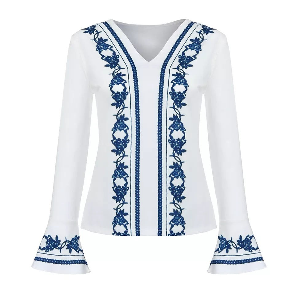 V Neck Embroidered Long Sleeve Blouse