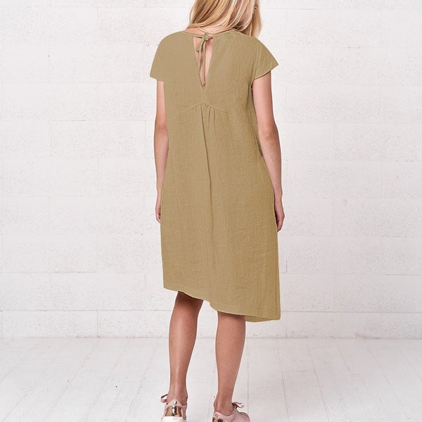 Flax Iregular Lower Hem Plain Dress