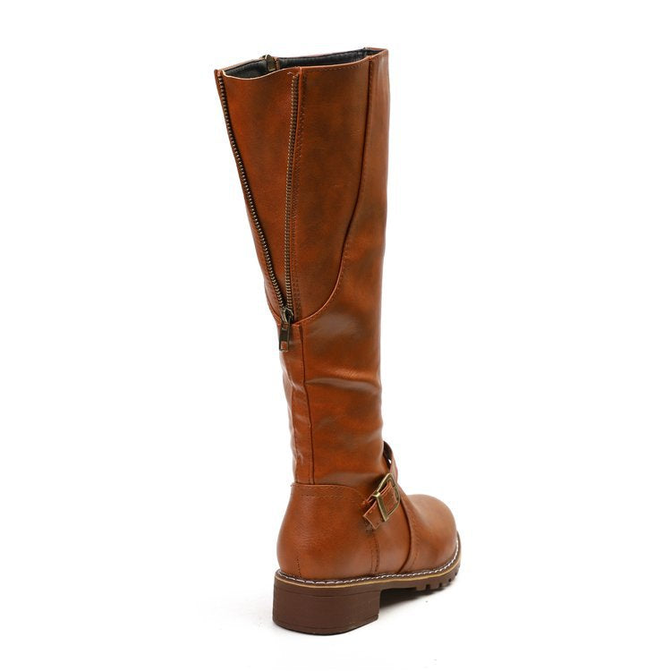 Womens Chunky Heel Zipper Daily Vintage Boots