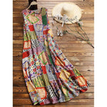 Vintage Print Floral Patch Crew Neck Sleeveless Dress