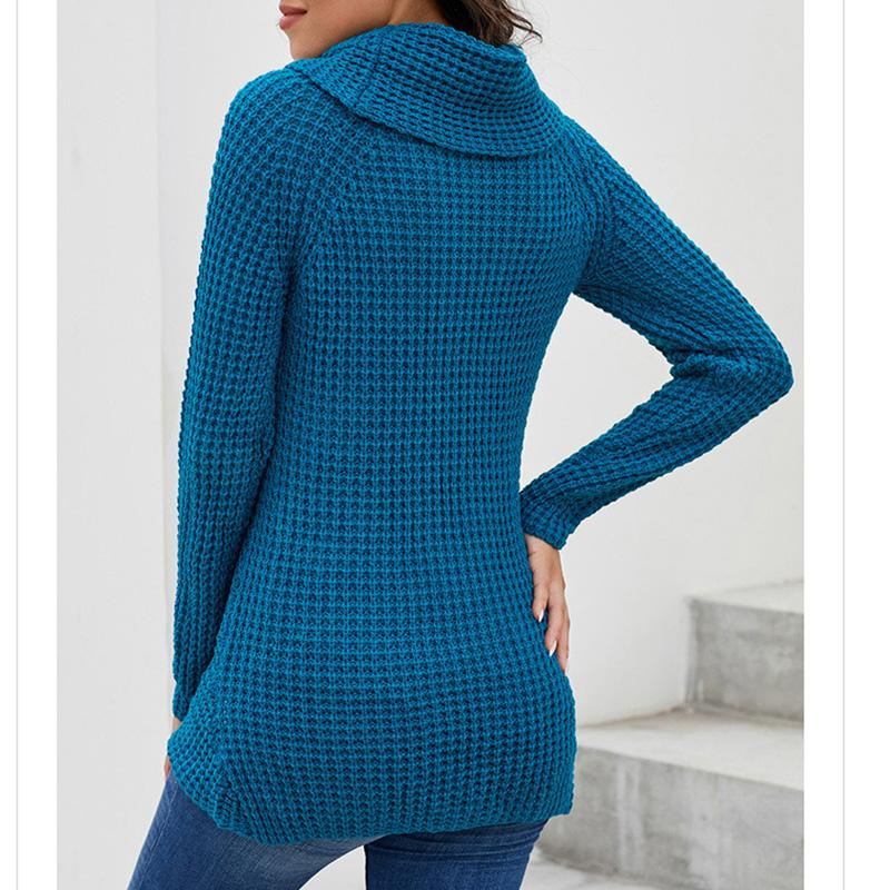 Fashion Buttoned Wrap Turtleneck Sweaters