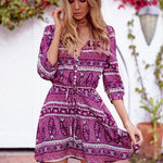 Bohemia Style Button Floral Printed Mini Dresses