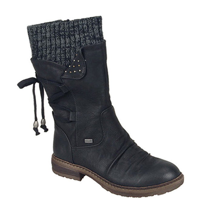 Women Fashion Lace-up Zipper Mid-Calf Boots