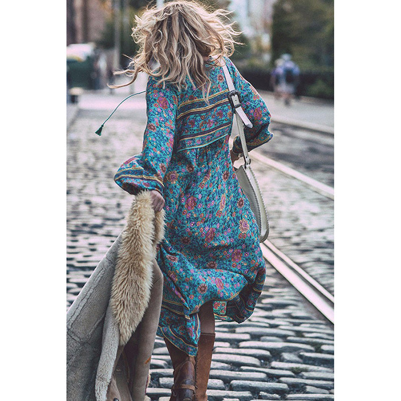 Bohemian Floral Long Sleeve Midi Dress