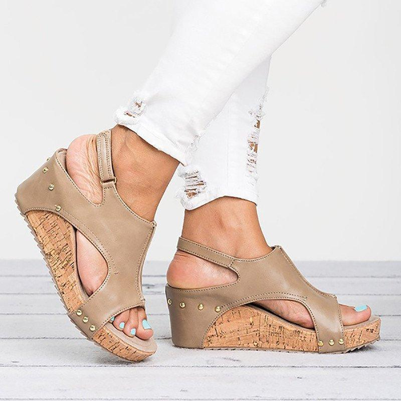 Large Size Peep Toe Hook-Loop Wedge Sandals - MagCloset