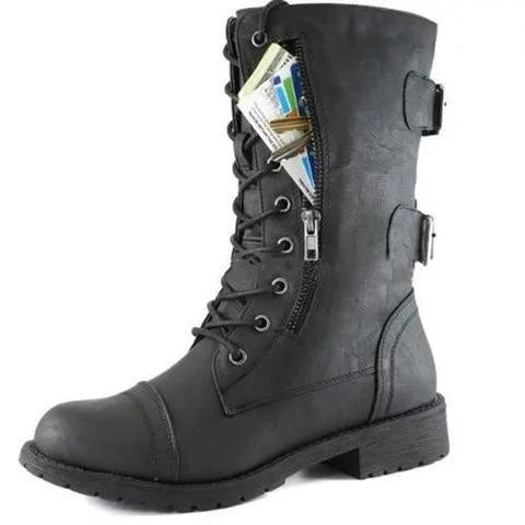 Women Military Combat Lace up Mid Calf Hide Credit Card Knife Money Wallet Pocket Boots