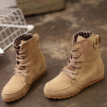 Women Ankle Lace-Up Boots