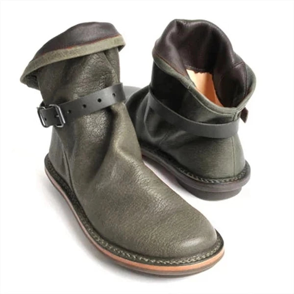 Holiday Round Toe Solid PU Short Boots