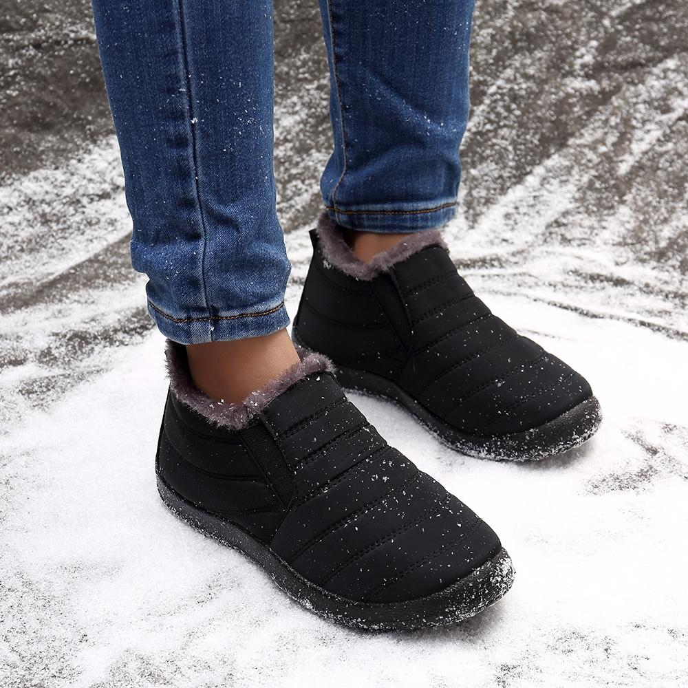 Warm Lining Casual Winter Waterproof Slip On Ankle Snow Boots