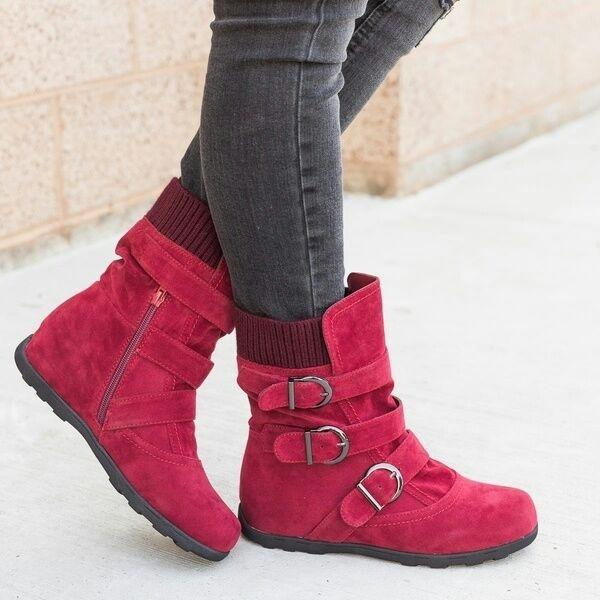 Cushioned Low-Calf Buckled Boots Low Heel Knitted Fabric Zipper Slip On Boots - MagCloset