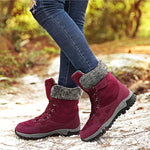 Large Size Women Hook Loop Outdoor Sneakers Mid Calf Warm Suede Boots
