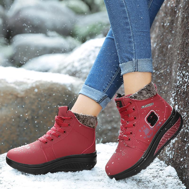 Lace Up Rocker Sole Platform Warm Fur Lining Snow Boots