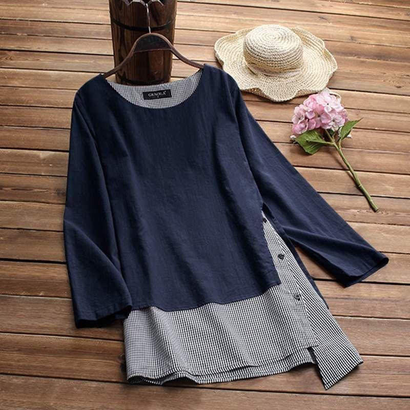 Women Stripe Patchwork Asymmetrical Blouse Casual Dress T-Shirt