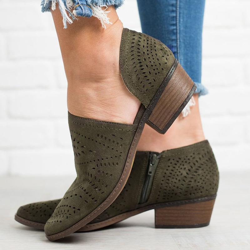 Hollow-out Chunky Heel Faux Suede Boot