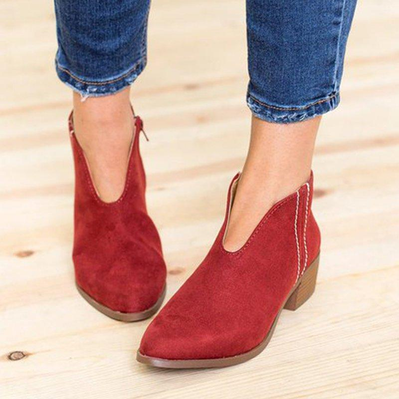 Casual Chunky Heel Suede Martin Boots - MagCloset