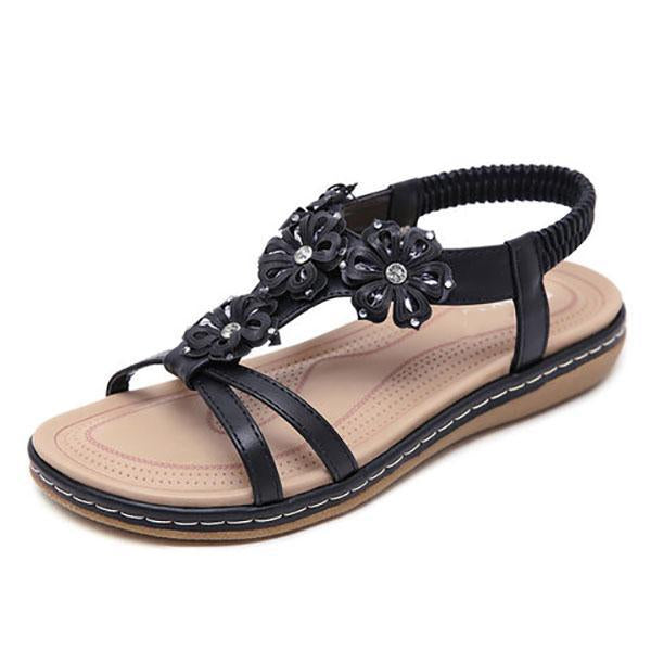 Casual Flowers Slip-On Flat Sandals - MagCloset
