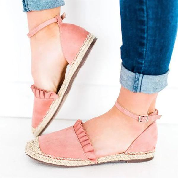 Casual Ruffle Side Flat Ankle Buckle Sandals - MagCloset