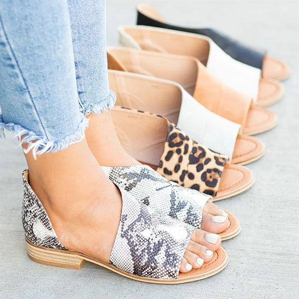Casual Open Toe Side Hollow Slip-On Sandals