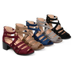Chunky High Heeled Multi-Strap Sandals - MagCloset