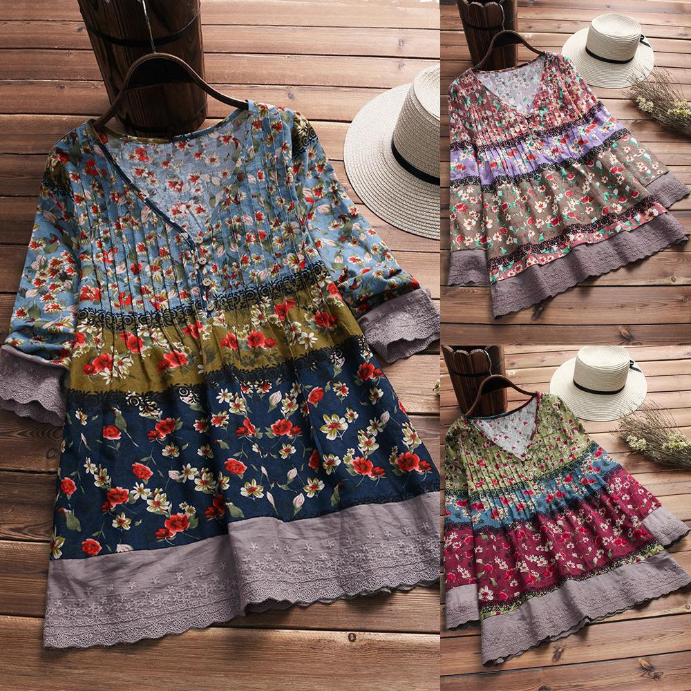 Contrasting Color Floral Print Top V-neck T-shirt Blouse skirt