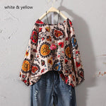 Casual Cotton Ethnic Shirt Floral Print Blouse