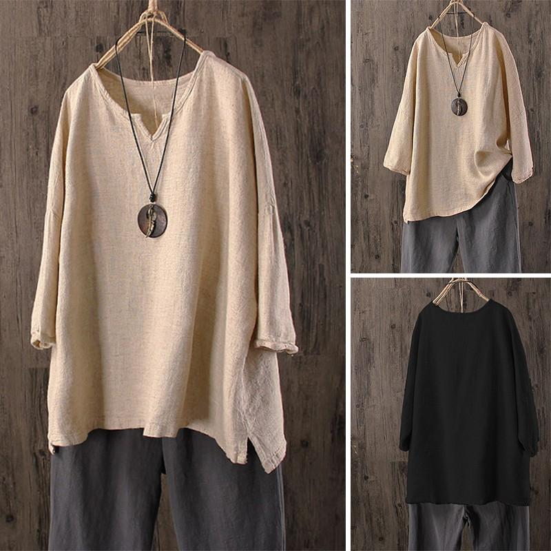 Cotton Shirt Long Sleeve Asymmetrical Casual Tops Plain Blouse