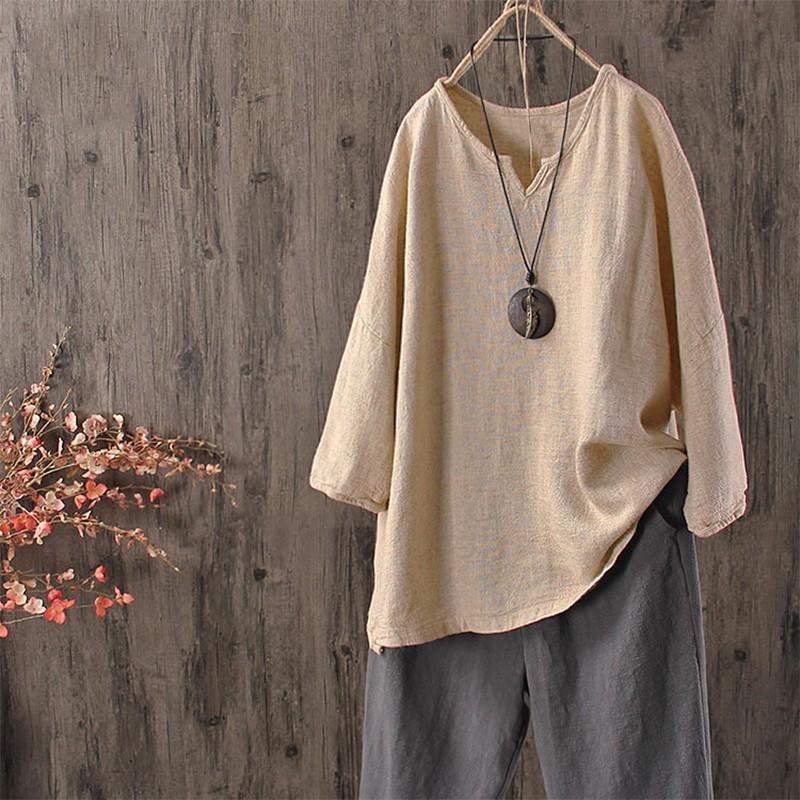 Cotton Shirt Long Sleeve Asymmetrical Casual Tops Plain Blouse - MagCloset