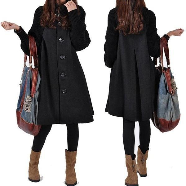 Patchwork Loose Casual Asymmetric Hem Keep Warm Coat