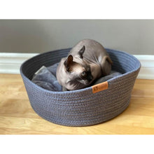Load image into Gallery viewer, Cat using grey be one breed cat cuddler on wooden floor va0