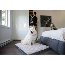 Load image into Gallery viewer, Dog using the Grey Be One Breed Memory Foam Diamond Bed va0