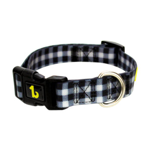 Be One Breed Adjustable Silicone Dog Collar Black Plaid va1