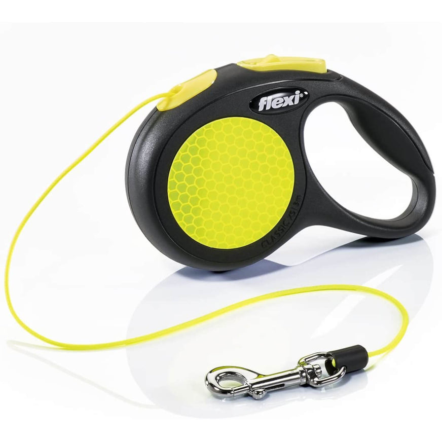 Flexi New Neon Reflective Retractable Leash Cord Yellow va1