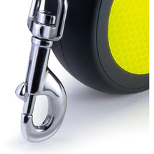 Load image into Gallery viewer, Flexi New Neon Reflective Retractable Leash Cord Clip Up Close va0
