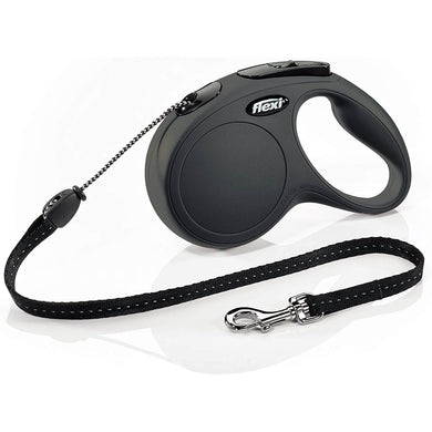 Flexi New Classic Retractable Dog Leash (Cord) Black